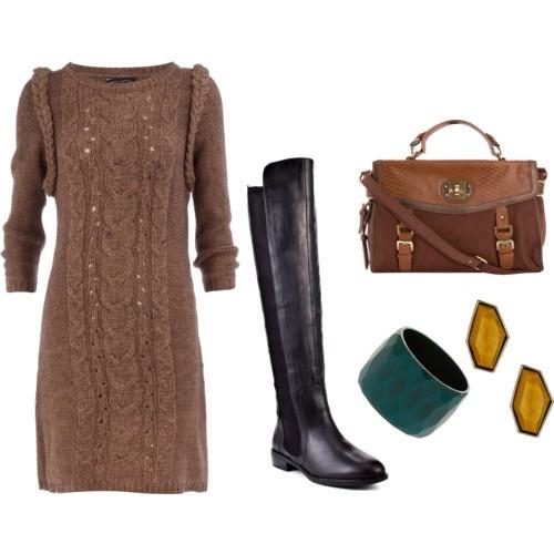 С чем носить вязаное платье.  3 трендовых образа зимнего сезона 2012.